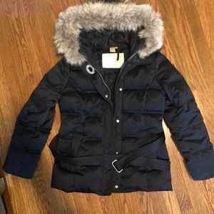 Coach Puffer, Feather Down with Fur Trim Coat